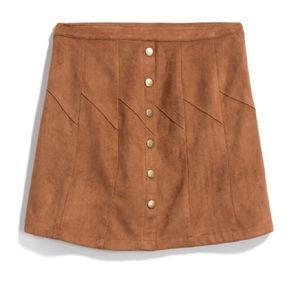 Fabulous Faux Suede Button Front Detail Skirt